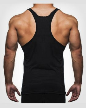 HENCHGRIPZ™ BLACK T-BACK MENS BODYBUILDING STRINGER VEST
