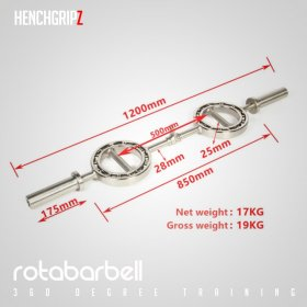 HENCHGRIPZ ROTABARBELL 360 Degree Olympic EZ Bar Hammer Curl Bar